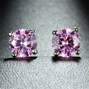 18K White Gold Plated Pink CZ Round Earrings for Girls 5mm