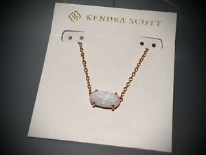 Kendra Scott Ever Necklace in White Kyocera Opal Rose Gold Pendant NEW $85