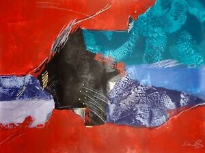 """Eric Waugh """"Comp I"""" Original Signed Artwork Mixed Media Painting, abstract, OBO"""