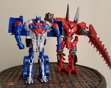 Lot of 2 transformers age of extinction scorn and optimus prime action figure