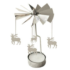 Spinning Rotary Metal Carousel Tea Light Candle Holder Stand Light Xmas GiftF1S4