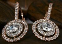 Real 2.00ct Round Drop Dangle Lever Back Diamond Earring 14k Solid Rose Gold