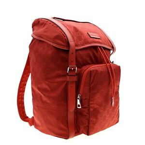 Gucci Backpack Nylon GG Guccissima Red New