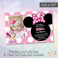 Personalised Minnie Mouse Birthday Invitation Baby Shower Invites