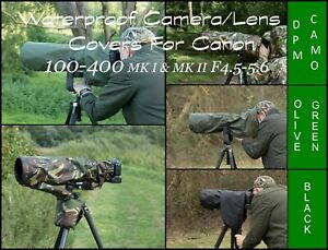 Waterproof Camera /Lens Cover Canon 100-400 MK1 & II F 4.5- 5.6, 4 Colour choice