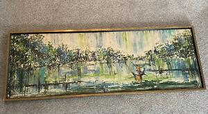 Mid-Century Modern Hillside Original Landscape Impasto Oil Painting. Van Hoople