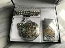 NIB Railroad Chain Pocket Watch w/chain and Money Clip w/Steam Train design