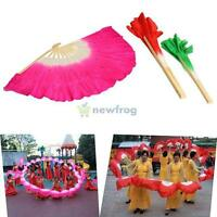 Colorful Silk Veil Folk Art Chinese Belly Dance Square Dancing Bamboo Short Fan