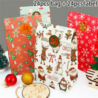 24Pcs Christmas Gift Bags Paper Cardboard Packaging Box Xmas Party Cookie Sweets