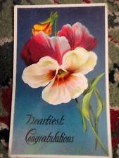 PostCard Heartiest Congratulations Floral 1912 Usa 1 cent Green Stamp Vintage