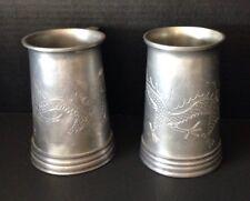 2 Vintage Pewter Steins Mug Swatow Chinese Dragon Mui Soon Tankard Glass Bottom