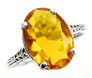 6CT Citrine 925 Solid Sterling Silver Nouveau Style Ring Jewelry Sz 6, UF14
