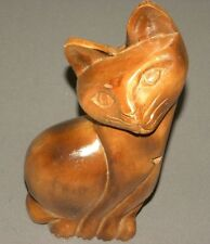 "Vintage Wooden Cat Figure 10"" Figurine 1970's Solid Wood"