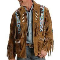Men Brown Suede Western Cowboy Leather Jacket With Fringe & Bread Work