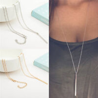 Frauen Versilbert Lange Kette Lariat Halskette Charm Anhänger Schmuck XJ