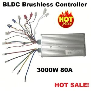 Brushless Hub Motor Controller 3000W 48V/60V/72V 80A 24mos For E-Bike E-Scooter