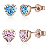 Optional 925 Sterling Silver Stud Earrings Rose Gold Heart CZ Sweet Girl Jewelry