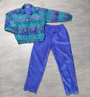 Vintage Fuda International Womens Track Suit Purple Green Blue Silk Shiny Large