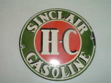 """SINCLAIR GASOLINE H-C Porcelain Red Green White 6"""" Round Advertising sign"""