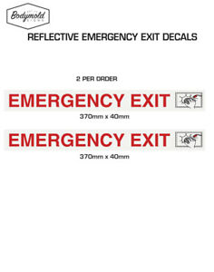EMERGENCY EXIT stickers REFLECTIVE 370mm x 40mm