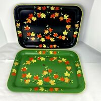 Vintage Mid Century Metal Green Black Fall Leaves Serving TV Tray Set of 2