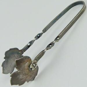 VINTAGE RAIMOND CHELSEA MASS. NATURALIST LEAF CLAW STERLING SILVER SUGAR TONGS
