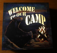 WELCOME TO OUR CAMP LIGHTED CABIN SIGN Black Bear Campfire Lodge Home Decor NEW