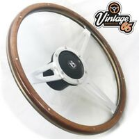 "Vw T3 T25 Camper 17"" Wood Rim Flat Polished Slotted Steering Wheel & Boss Kit"