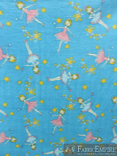Polar Fleece Fabric Print STAR BALLERINA GIRL DANCING BLUE BACKGROUND Sold BTY