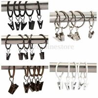 40X METAL CURTAIN RINGS DRAPERY ROD RING NET RAIL VOILE POLE WITH CLIP  ❤