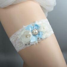 f0f11f42b40 Charm Bridal White Lace Garter Blue Satin Bowknot Pearl Rhinestone Decor  Garter