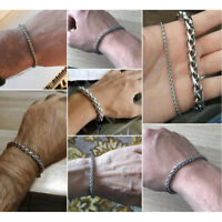 6MM Men's Hip Hop Bracelet Stainless Steel Link Chain Wristband Cuff Bangle 8.4""