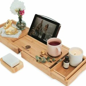 Pristine Bamboo Expandable Bath Shelf Bath Tub Tray Wine Book Holder Storage