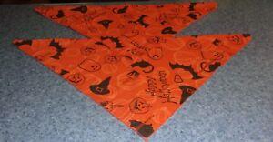 Set of Two Brand New Halloween Witch Hat Bat Dog Bandanas MEDIUM LARGE Tie On