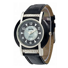 Edle Tavolino Damenuhr, Silber, Schwarz, Strass, PU Leder, Uhr, Armbanduhr
