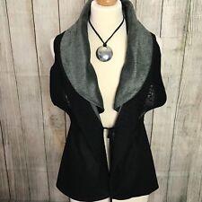 Stunning Black Grey Sleeveless Designer Cardigan Size M/L (12-14)