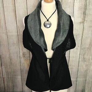 Stunning Black Grey Sleeveless Designer Cardigan Gilet Size M/L (12-14)
