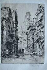 ROUEN STREET SCENE ORIGINAL INDISTINCLY PENCIL SIGNED ETCHING J HARRISON 1895