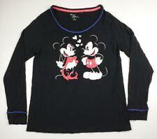 Disney Mickey Minnie Luxe Super Soft Pajama Shirt Top ONLY Black Size Medium