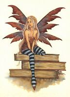 Postcard Amy Brown Gothic Fairy Sat on Books Art Print Collectable