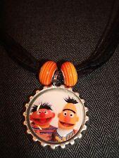 Black Ribbon Bottle Cap Bling Charm Beads Necklace Sesame Street Bert & Ernie