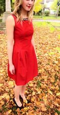 ZARA RED Pleated TULIP DRESS JEWELLED Collar NECKLINE - Small S Last In Stock!!