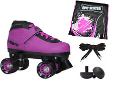 New! Epic Nitro Turbo Purple Quad Roller Speed Skate 4 pc Bundle w/ bag & Plugs