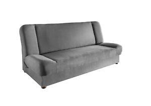 Sofa Couch mit Schlaffunktion und Bettkasten Federkern-Polsterung Grau 43231