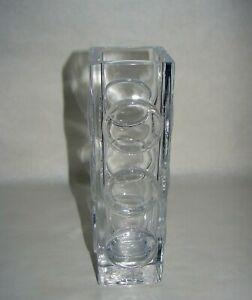 """Skruf Bengt Edenfalk Sweden Art Glass Tall Square Vase with Circles sign. 8 3/4"""""""