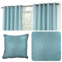 Fusion SORBONNE - Duck Egg Blue 100% Cotton Eyelet Curtains  / Cushions