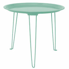 Retro Industrial Seafoam Green Pressed Tin Side Table ~ Vintage Furniture Danish