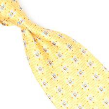 Ermenegildo Zegna Mens Silk Necktie Bright Yellow Blue Copper Ornate Print Tie