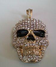 hop Bling Fashion Skull Dressy Pendant Designer Look Men's Gold Finish Hip