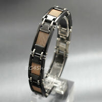 Black Tungsten Carbide Men's Health Magnetic Bead Bracelet Bangle Link Chain 8""